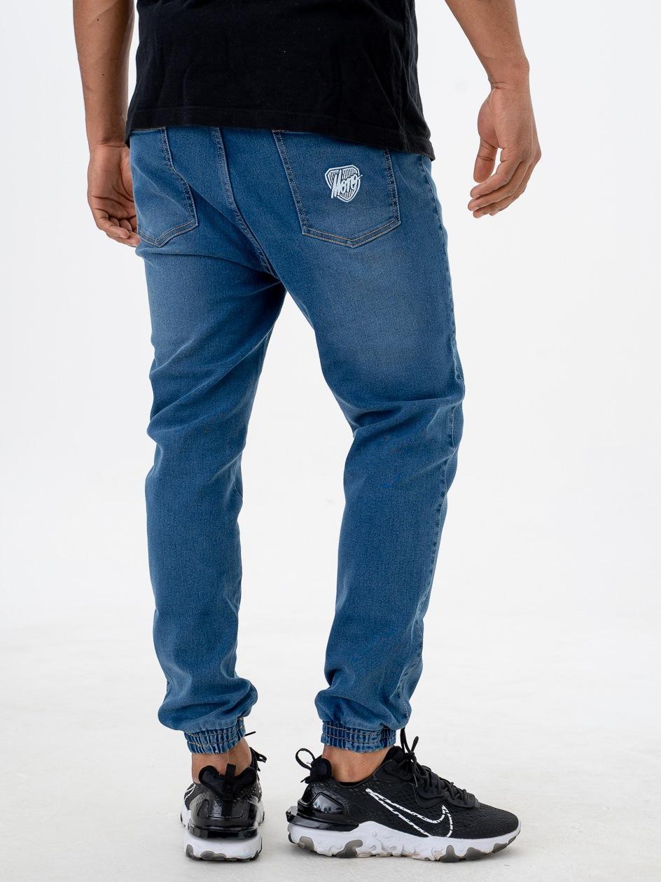 Spodnie Jeansowe Jogger Ze Ściągaczem Moro Sport SS21 Shield Slant Tag Niebieskie