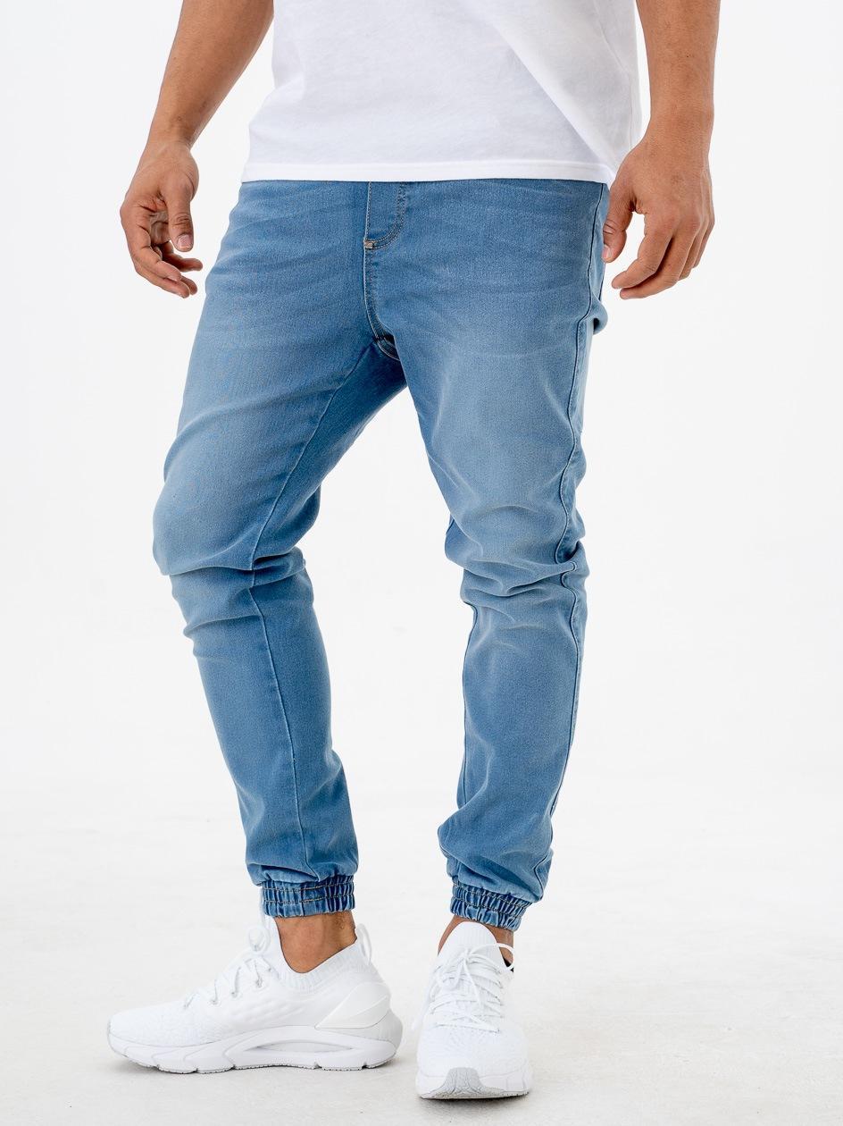 Spodnie Jeansowe Jogger Ze Ściągaczem Moro Sport SS21 Mini Paris Pocket Przecierane Jasne Niebieskie PRODUKT Z WADĄ