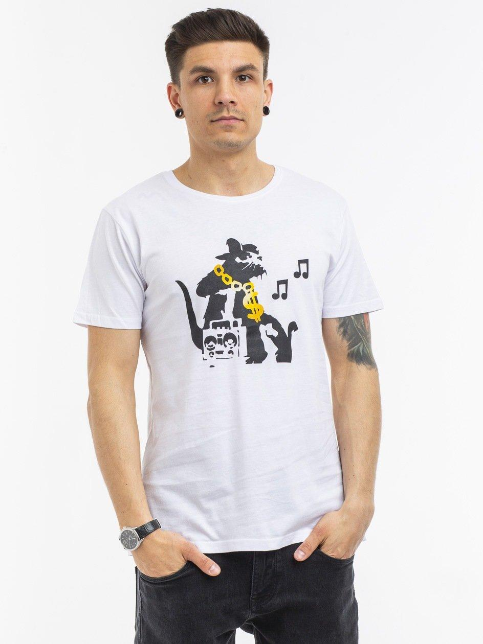 MC369 Banksy HipHop Rat Tee White