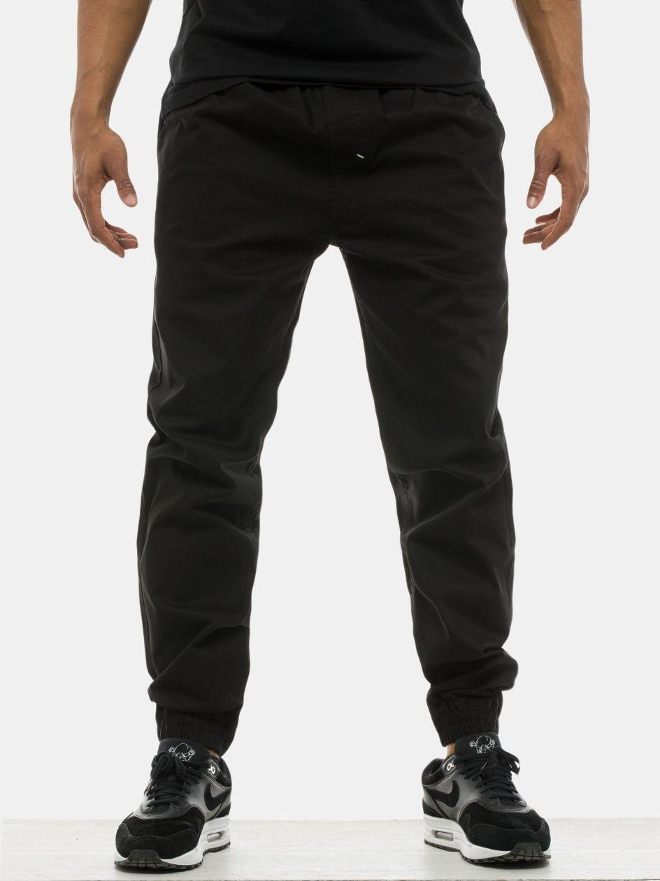 Spodnie Materiałowe Jogger Ze Ściągaczem Mass Signature Czarne