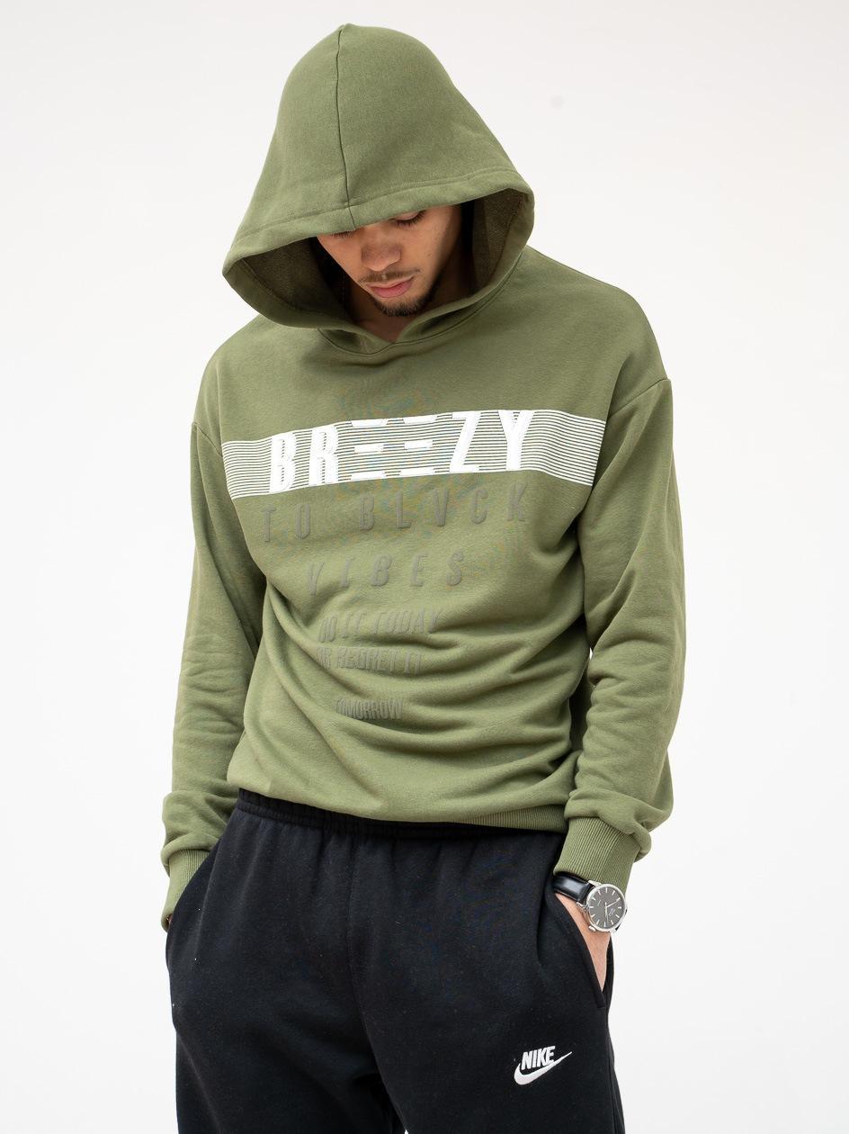 Bluza Z Kapturem Breezy Fast Logo Oliwkowa