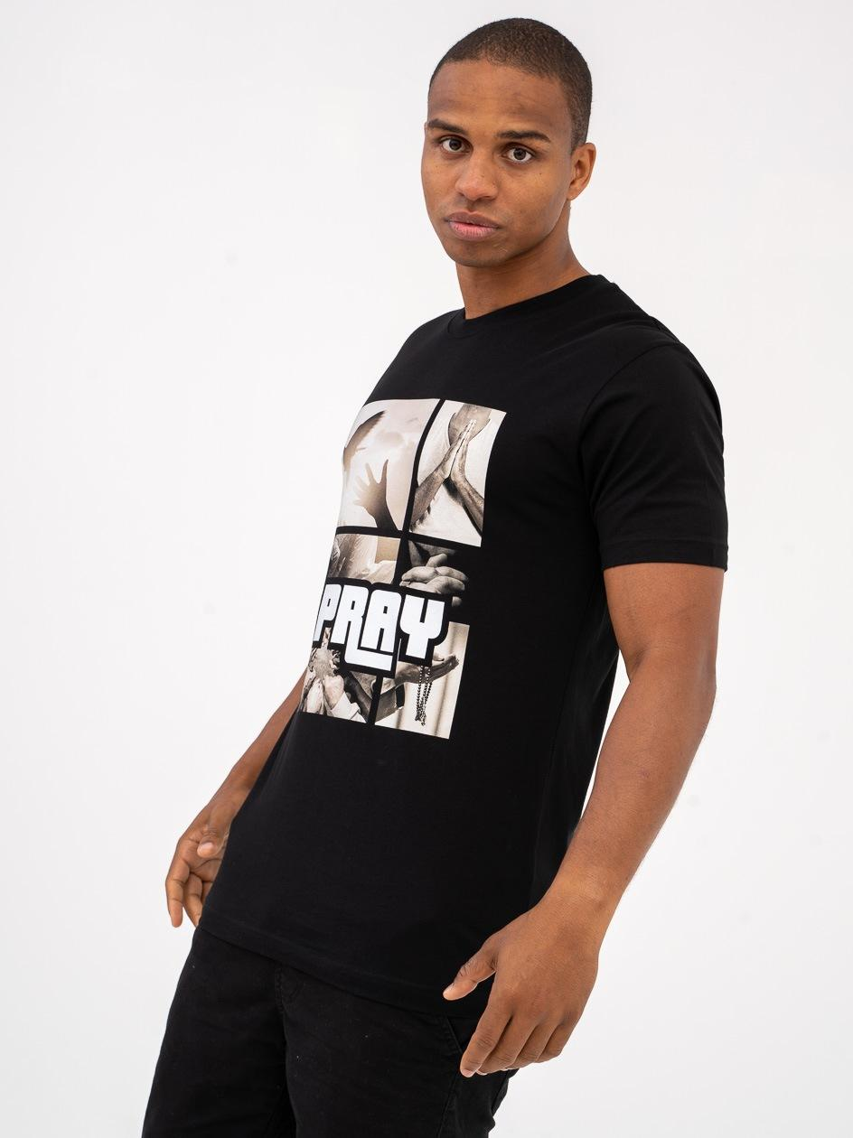Koszulka Z Krótkim Rękawem Mister Tee Pray Motive Czarna