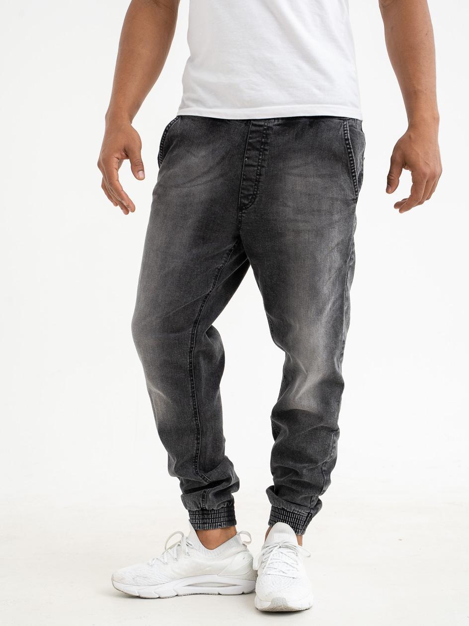 Spodnie Jeansowe Jogger Slim SSG Skin Sprane Czarne