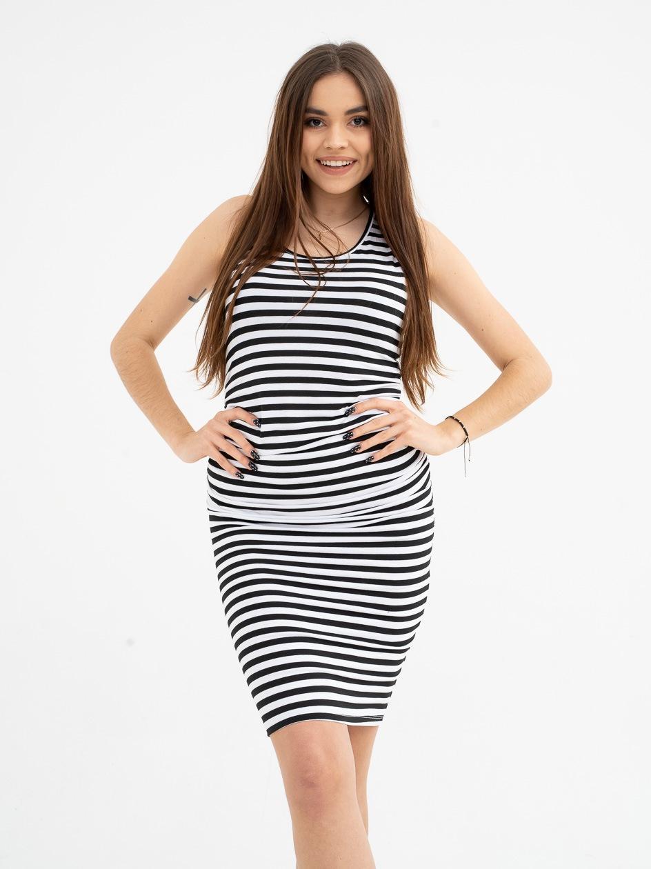 Sukienka Mini Point X Stripe Drape Czarna / Biała