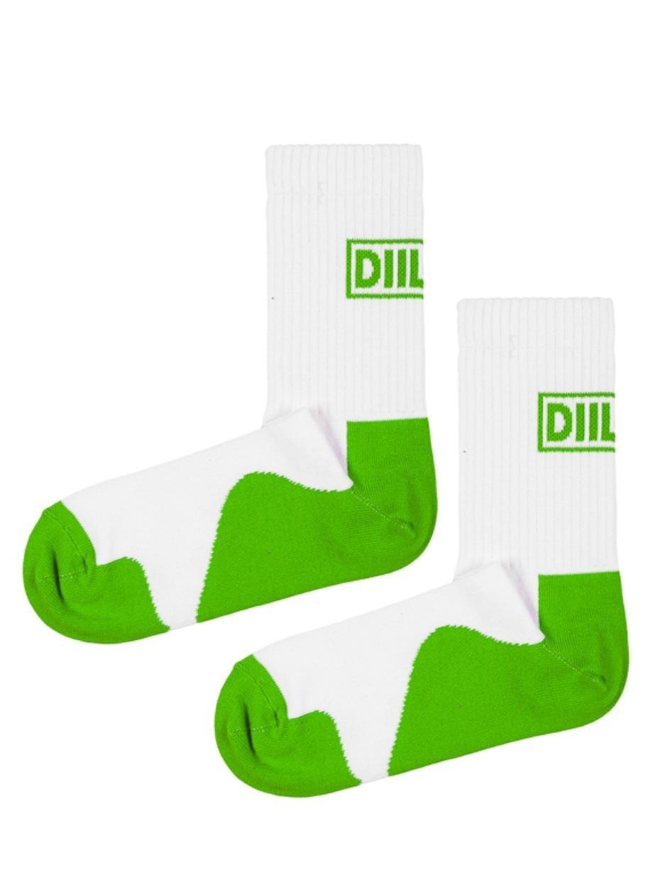 Skarpety Długie DIIL Frame Białe / Zielone