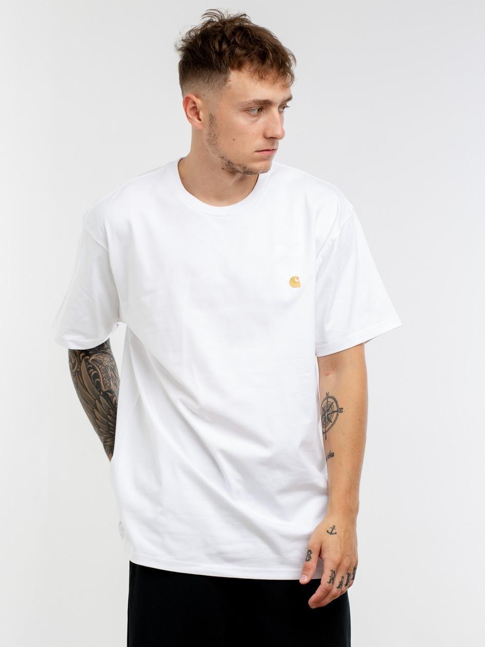 Koszulka Z Krótkim Rękawem Carhartt WIP Chase Biała / Złota