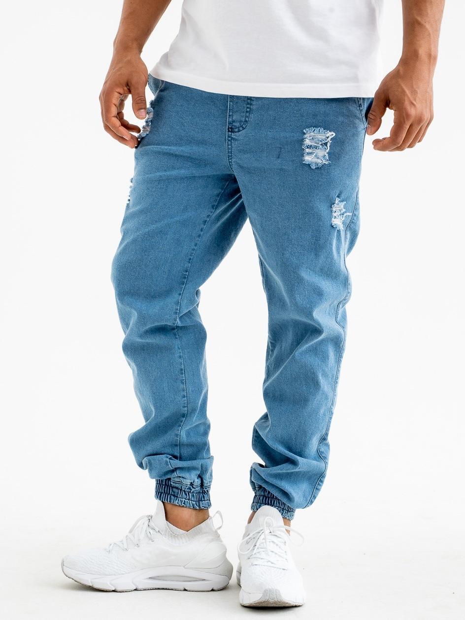 Spodnie Jeansowe Jogger Z Uszkodzeniami Diamante Wear Diamante Crew Jasne Niebieskie