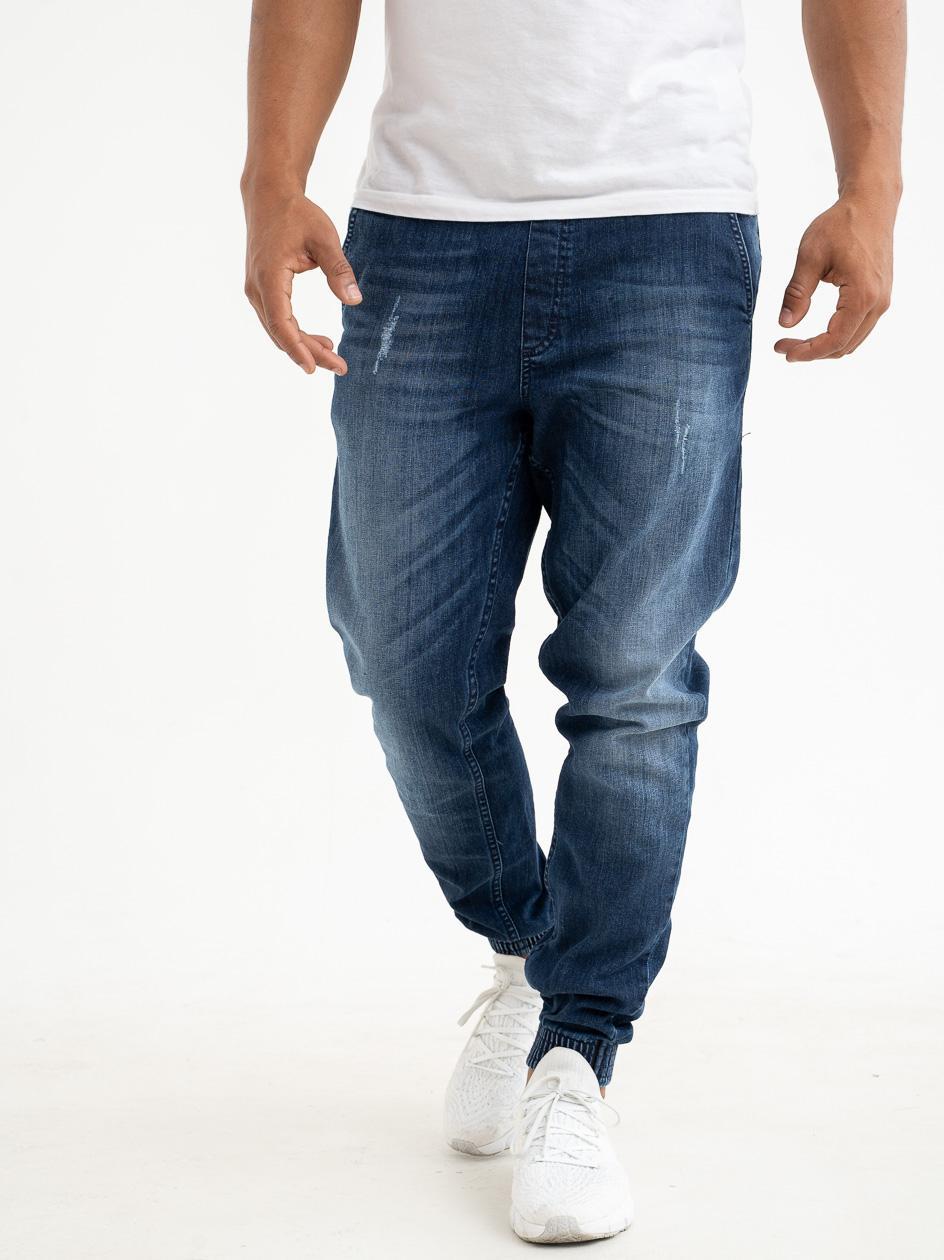 Spodnie Jeansowe Jogger Slim SSG Skin Niebieskie Z Przetarciami