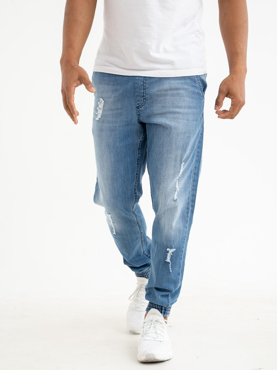 Spodnie Jeansowe Jogger Slim SSG Skin Jasne Niebieskie Z Dziurami
