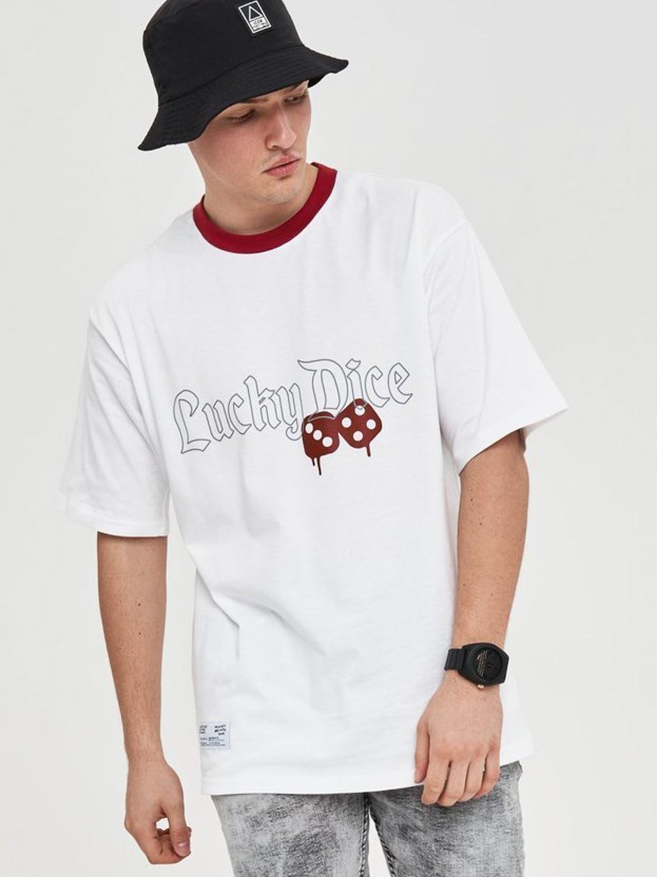 Koszulka Z Krótkim Rękawem Lucky Dice Gothic Biała