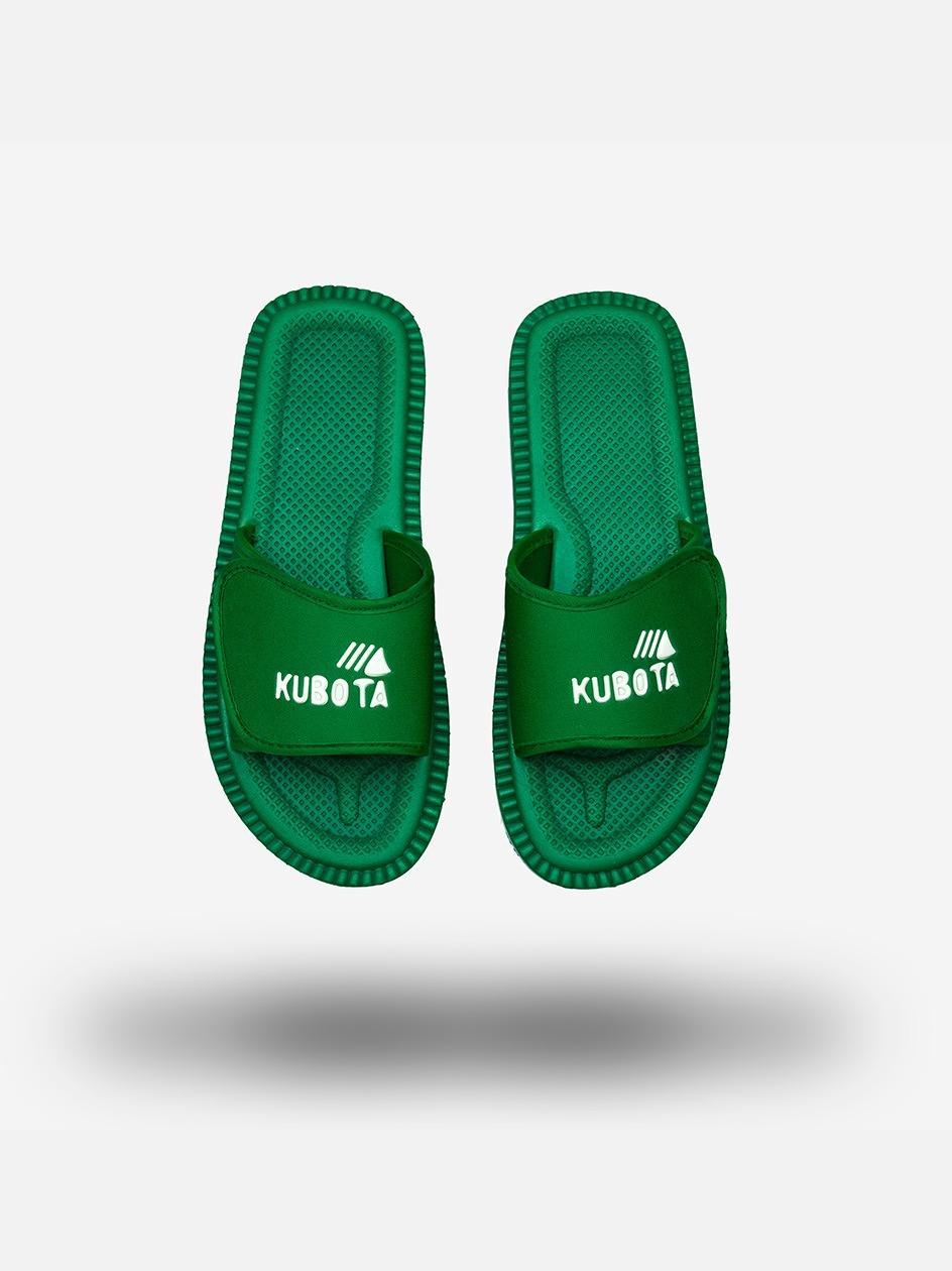 Klapki Kubota Na Rzep Logo Zielone