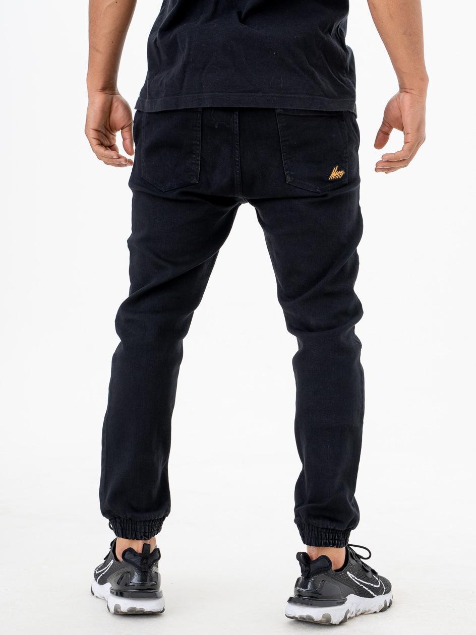 Spodnie Jeansowe Jogger Ze Ściągaczem Moro Sport SS21 Mini Slant Tag Pocket Czarne