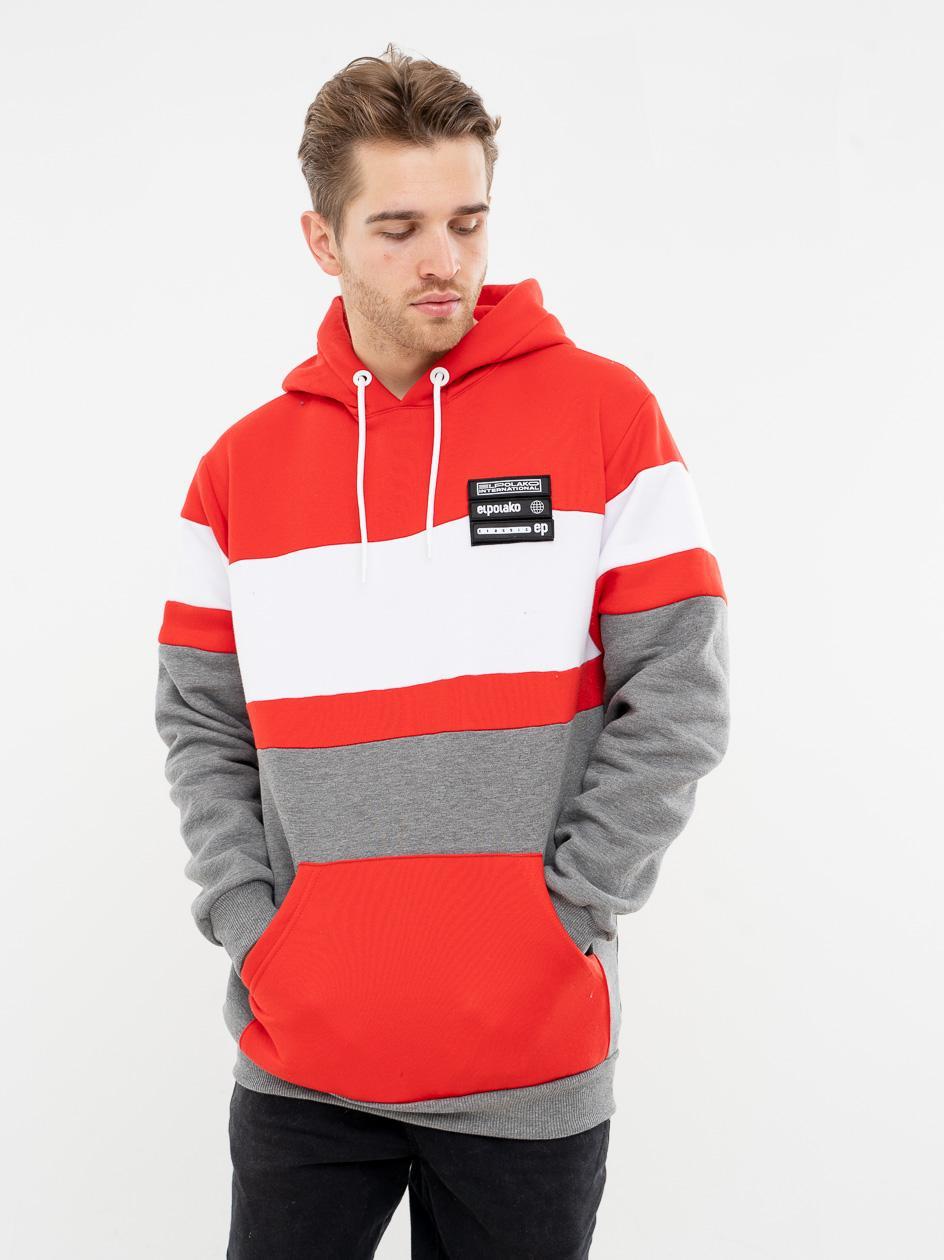 Bluza Z Kapturem El Polako Horizontal Cut Czerwona