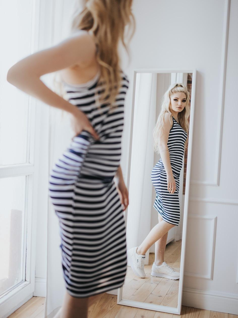 Sukienka Mini Point X Stripe Drape Granatowa / Biała