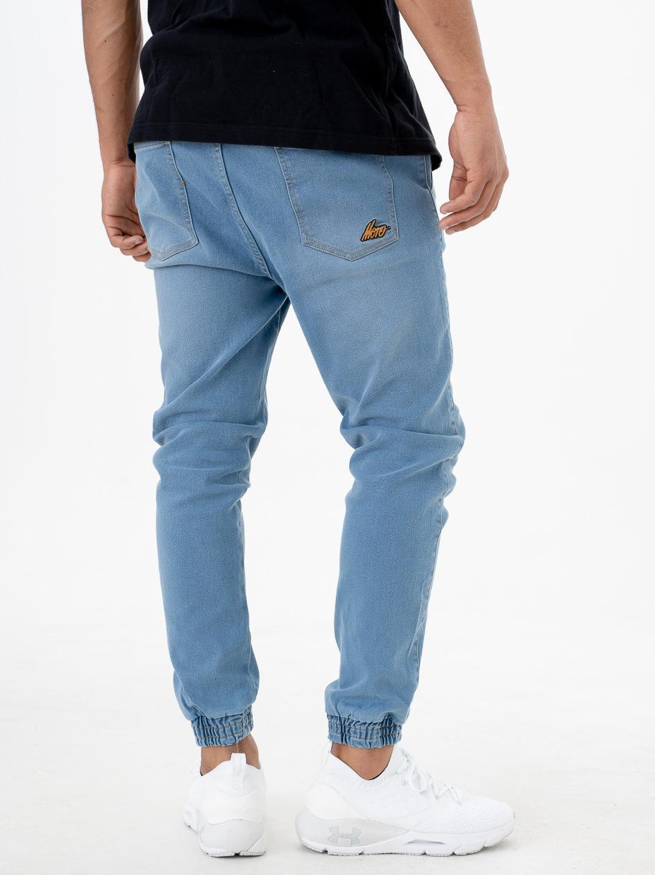 Spodnie Jeansowe Jogger Ze Ściągaczem Moro Sport SS21 Mini Slant Tag Pocket Przecierane Jasne Niebieskie