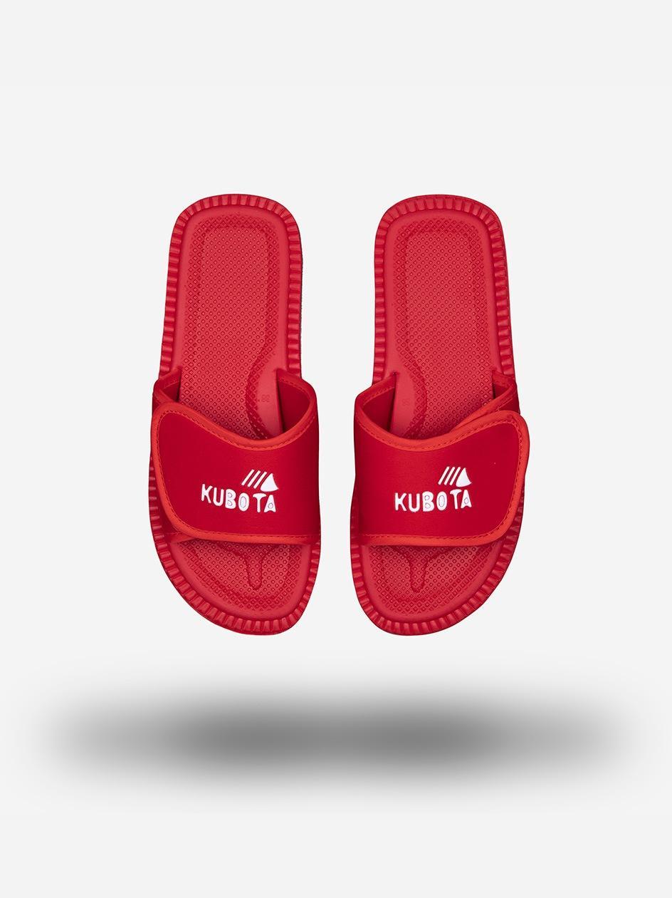 Klapki Kubota Na Rzep Logo Czerwone