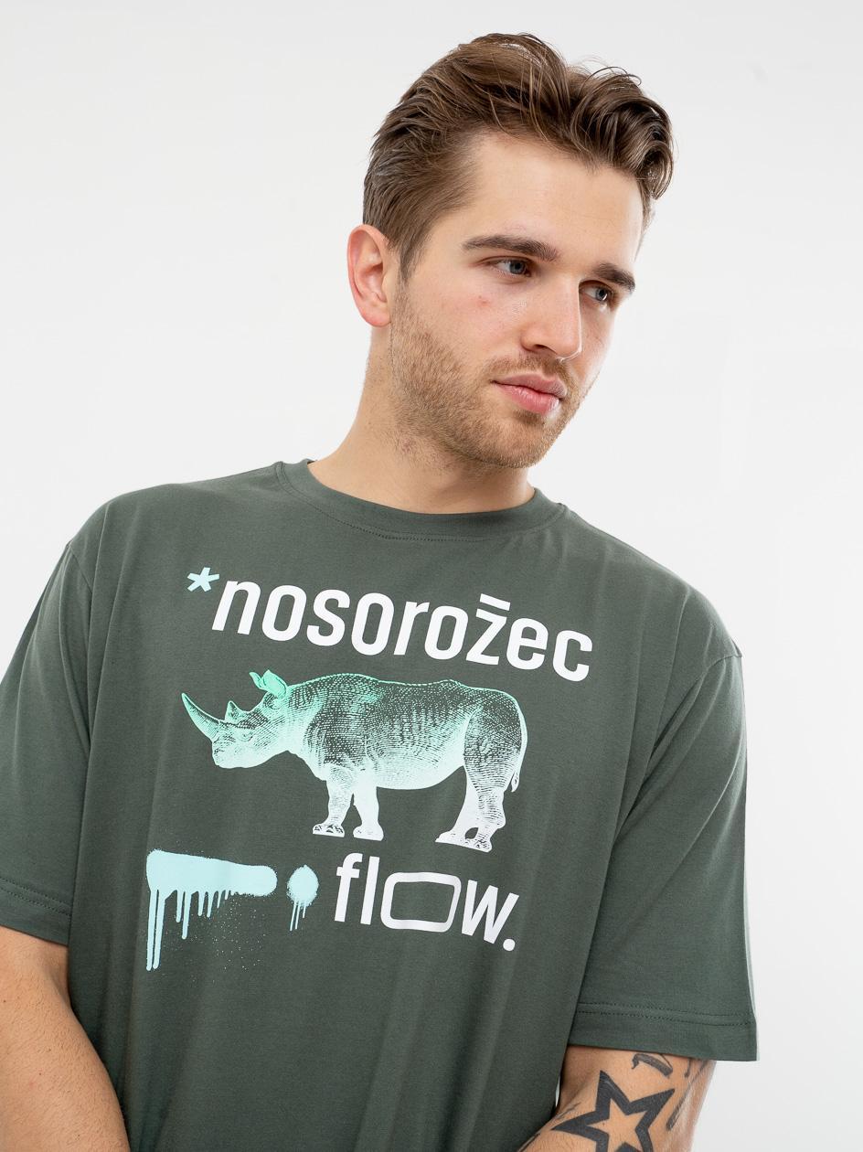 Koszulka Z Krótkim Rękawem El Polako Nosorożec Khaki