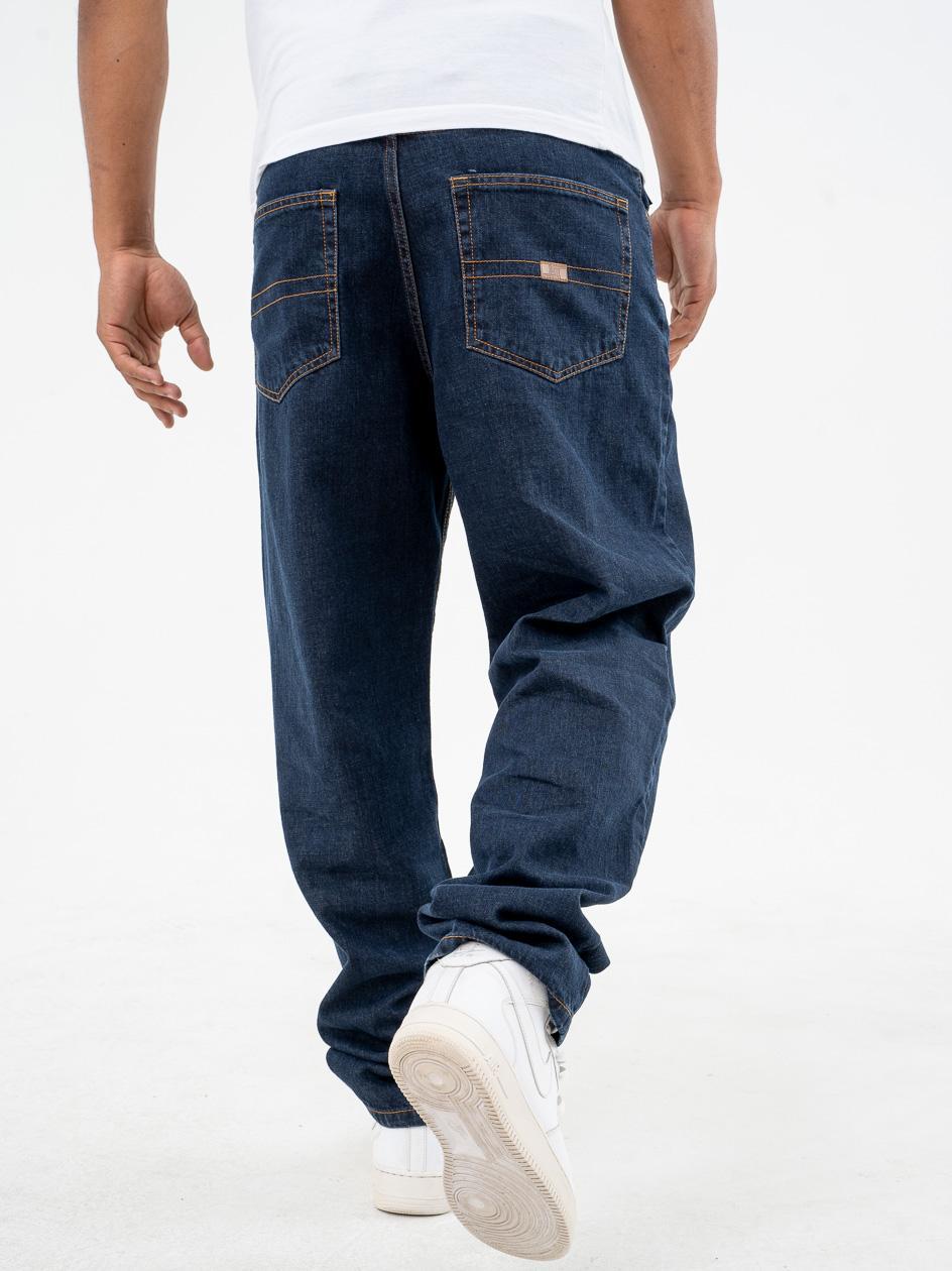 Spodnie Jeansowe Baggy Metoda Sport MH Stripe Ciemne Niebieskie