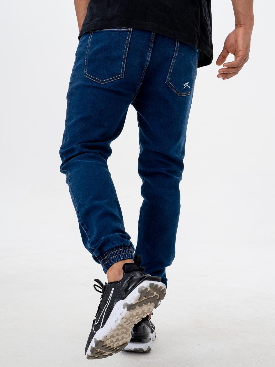 Spodnie Jeansowe Jogger Ze Ściągaczem Moro Sport SS21 Mini Paris Pocket Ciemne Niebieskie