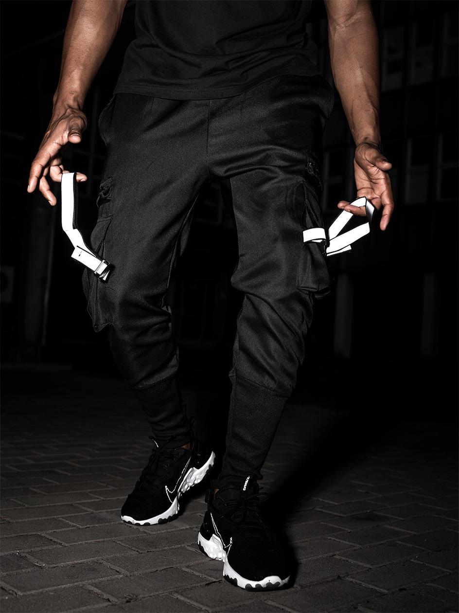 Spodnie Materiałowe Jogger UrbanCity Clip Cargo Czarne / Reflective