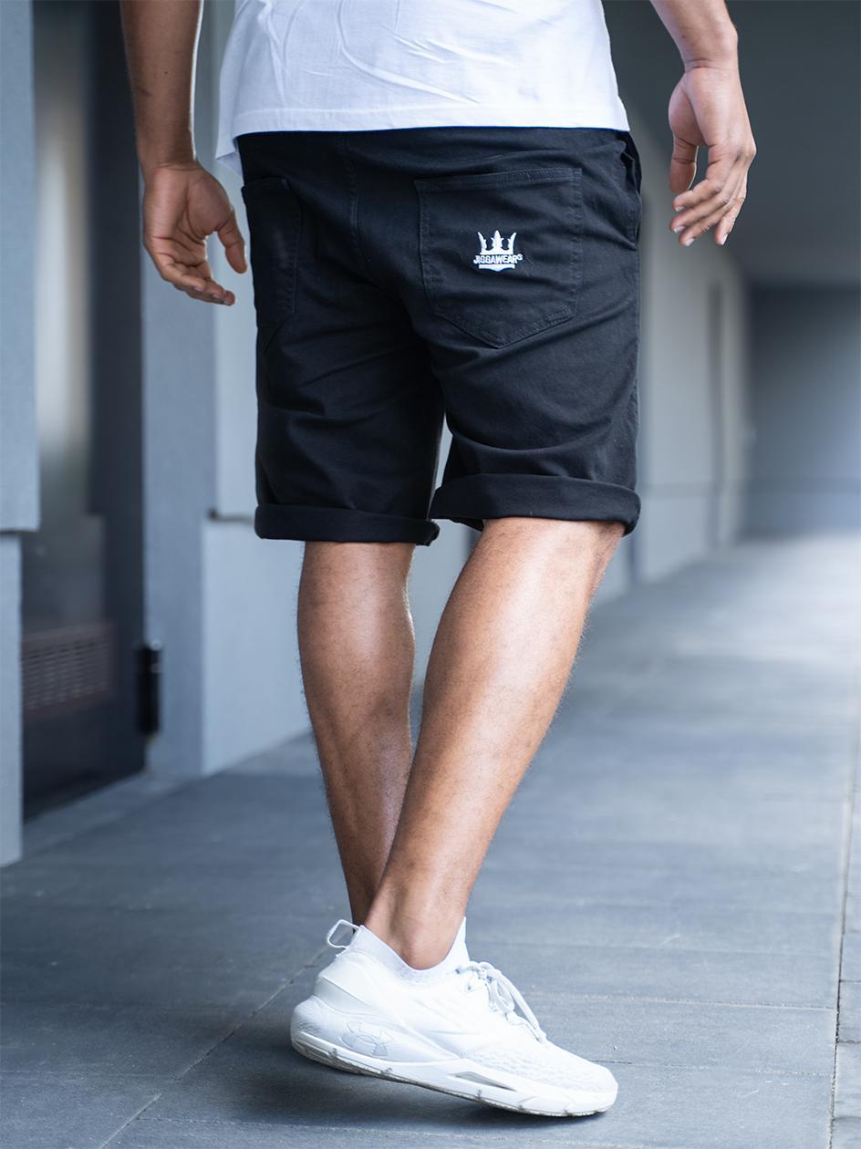 Krótkie Spodenki Ze Ściągaczem Jigga Wear Crown Stitch Czarne / Białe