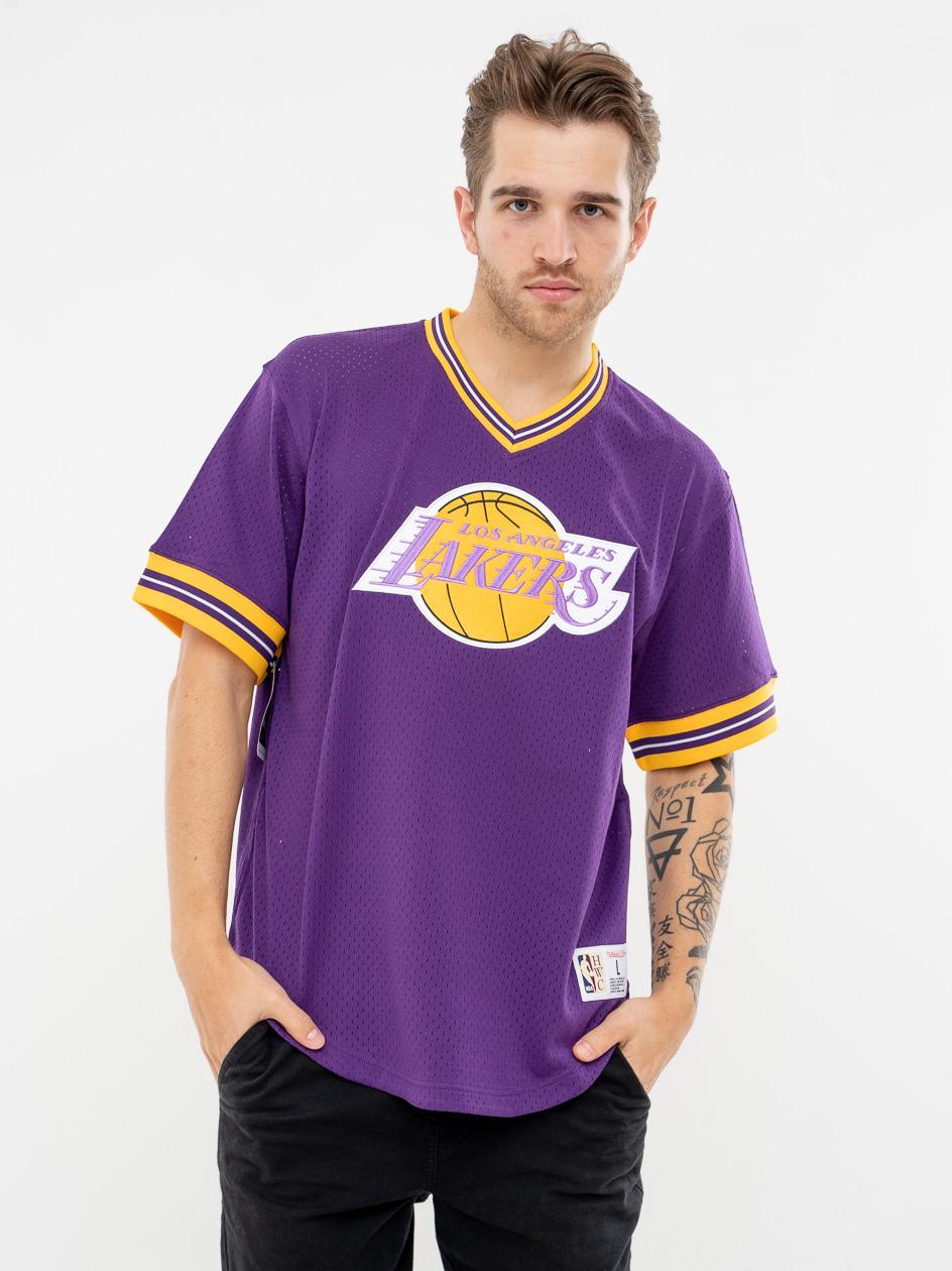 Koszulka Z Krótkim Rękawem V-Neck Mitchell & Ness Los Angeles Lakers NBA Unbeaten Mesh Fioletowa