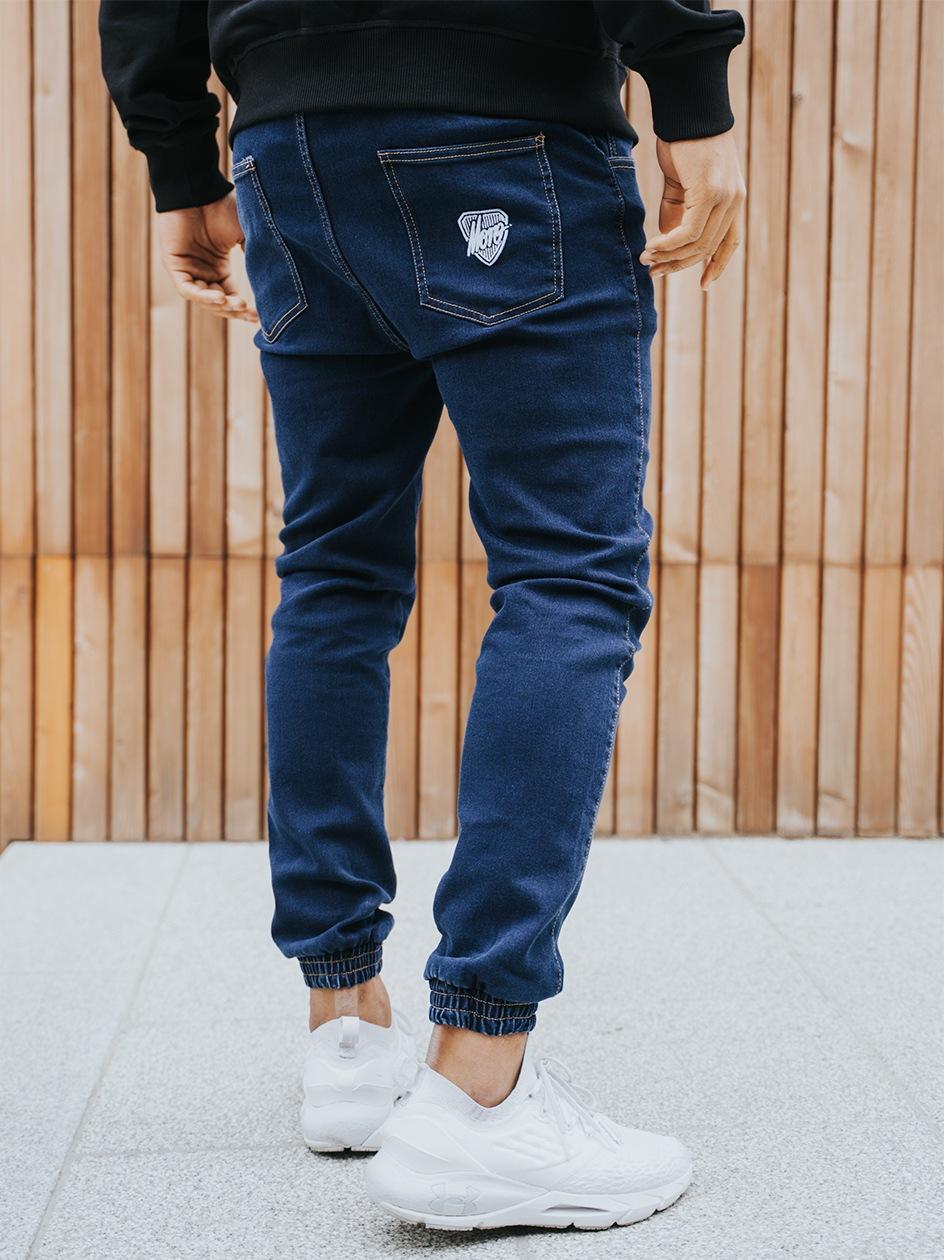 Spodnie Jeansowe Jogger Moro Sport Shield Slant Tag Ciemne Niebieskie