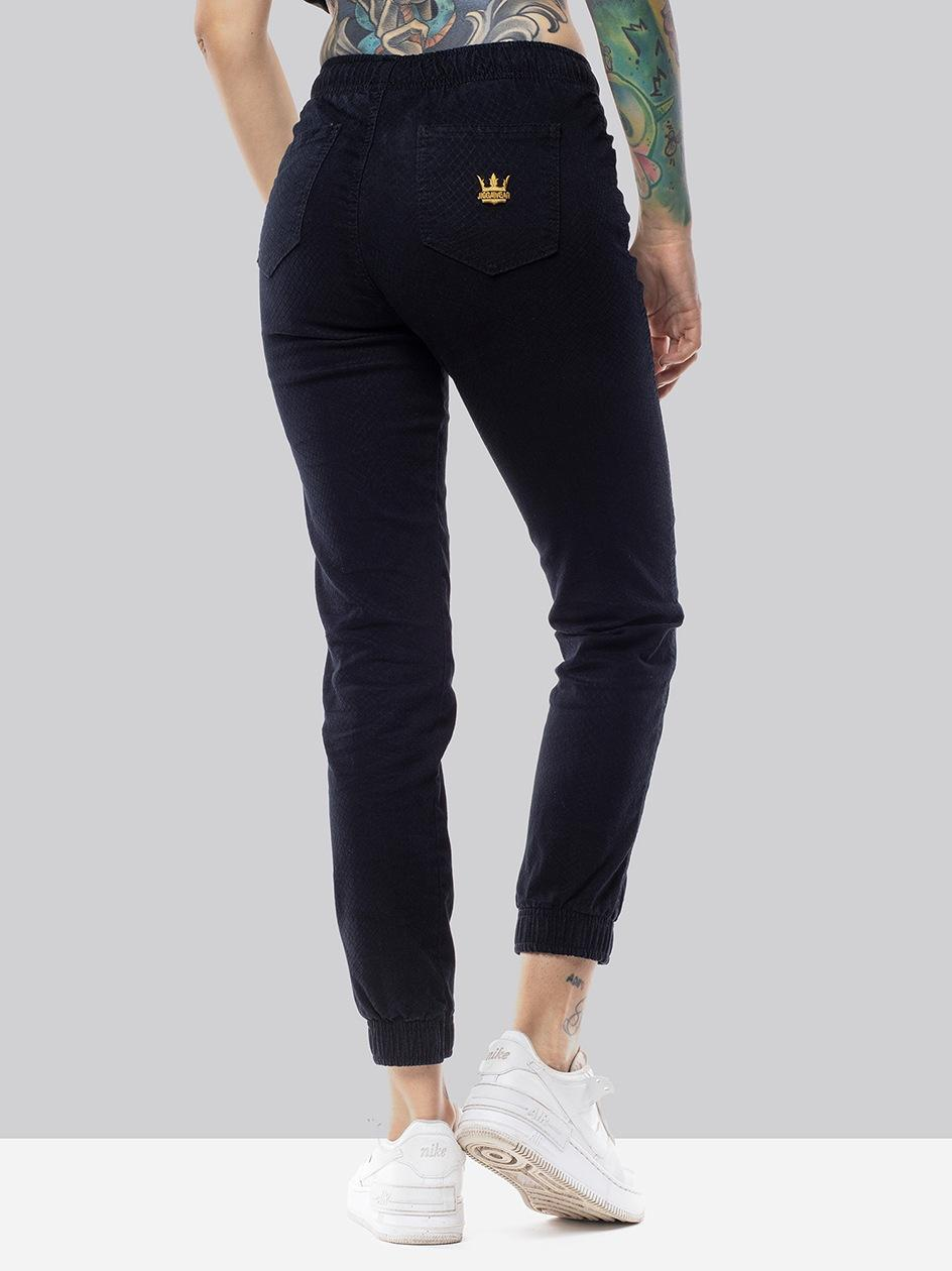 Damskie Spodnie Jeansowe Jogger Jigga Crown Girl Slim Square Granatowe / Żółte