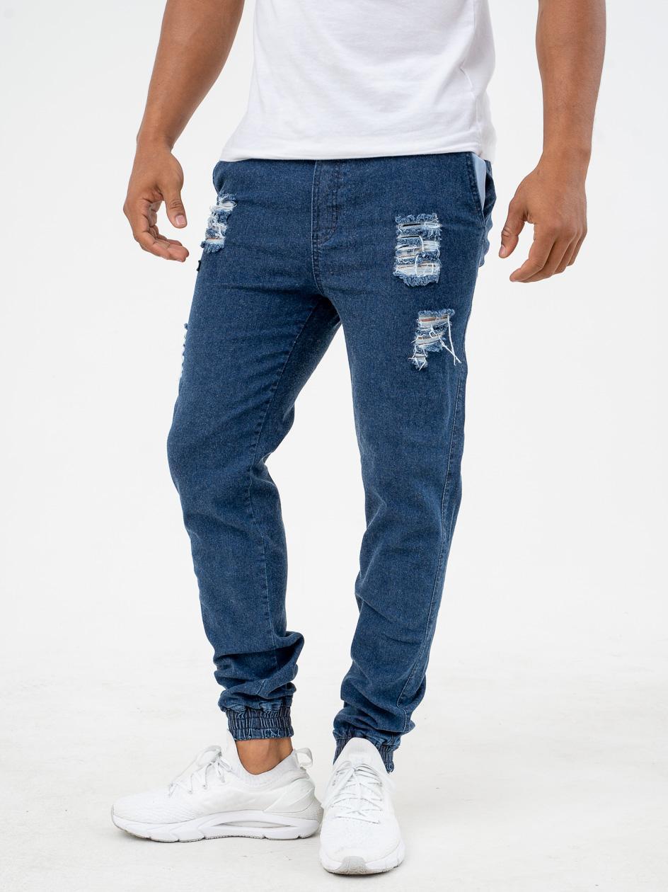 Spodnie Jeansowe Jogger Ze Ściągaczem Diamante Classic 2 Ripped Niebieskie