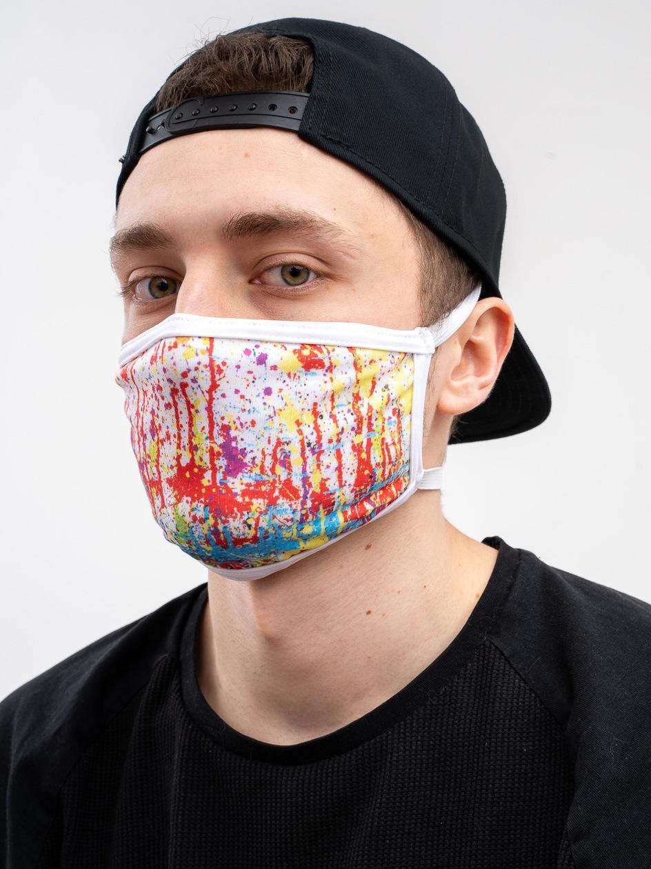 Maska Streetwearowa MyStars Splash Biała / Wielokolorowa