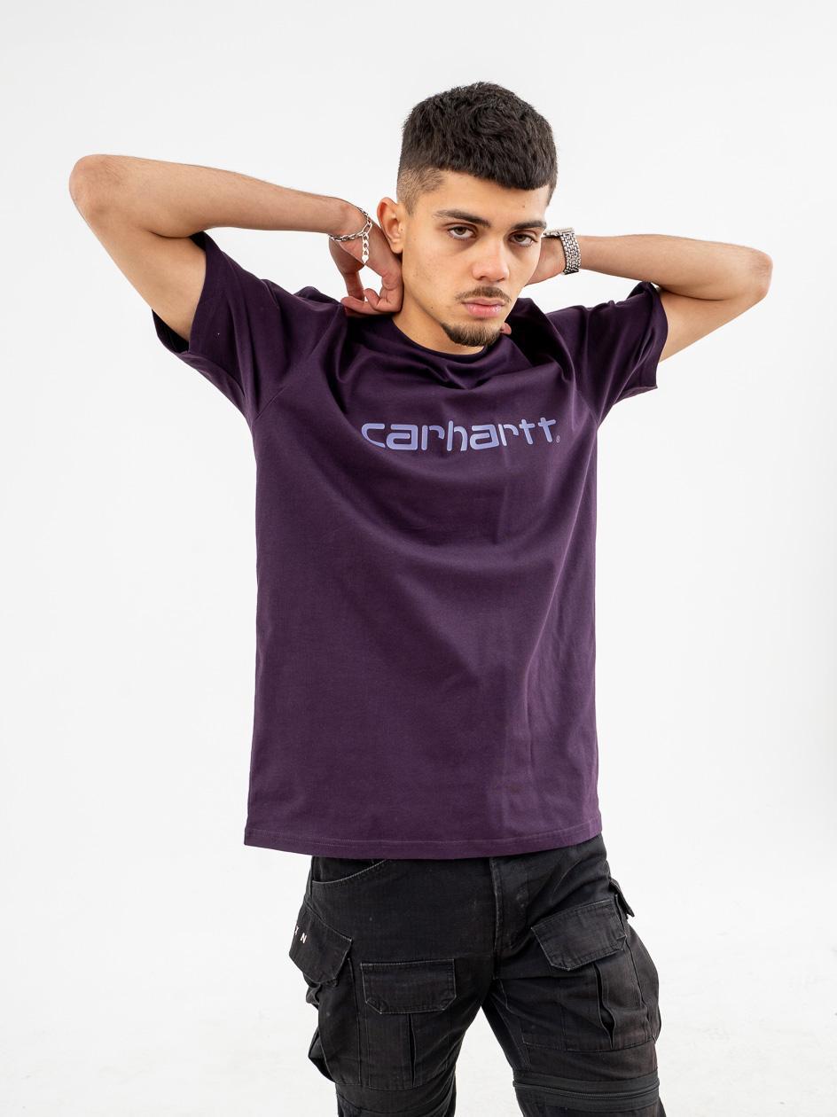 Koszulka Z Krótkim Rękawem Carhartt WIP Script Ciemna Fioletowa