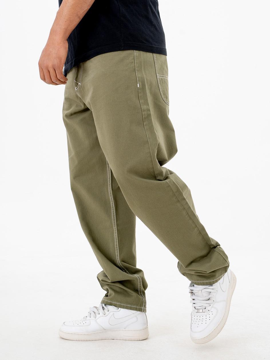 Spodnie Materiałowe Baggy Mass Craft Oliwkowe