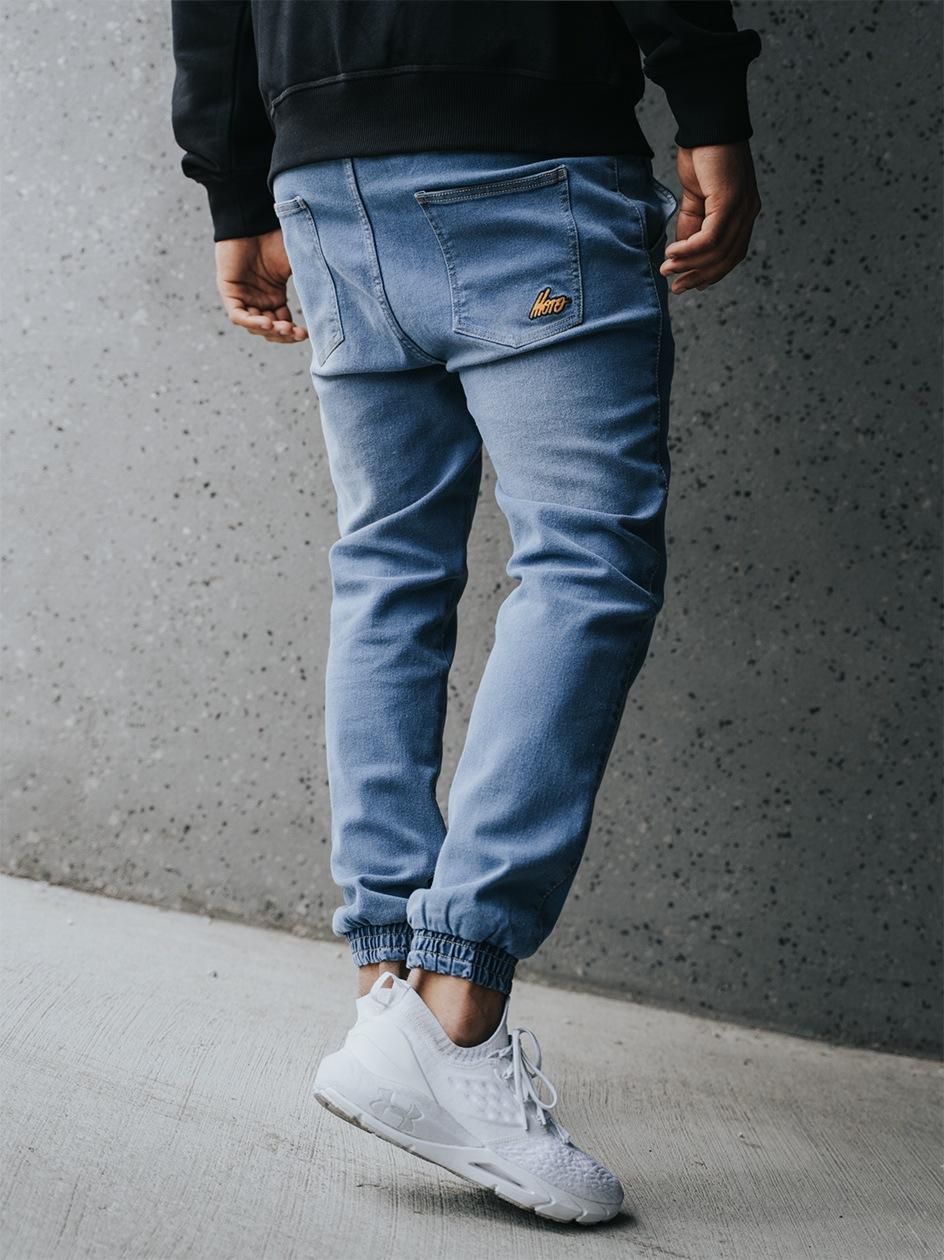 Spodnie Jeansowe Jogger Ze Ściągaczem Moro Sport Mini Slant Tag Pocket Niebieskie