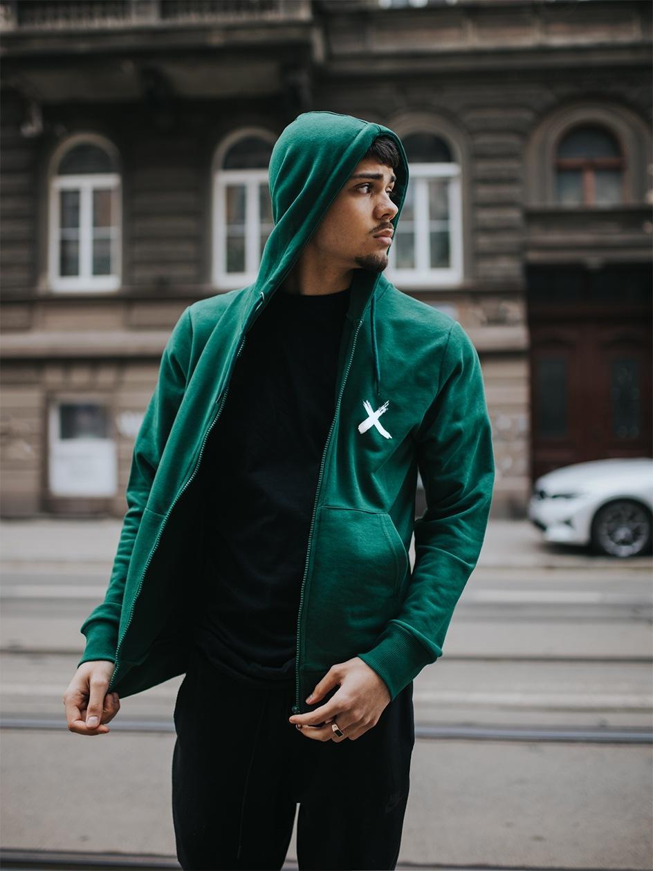 Rozpinana Bluza Z Kapturem Point X Small Logo Butelkowa Zielona