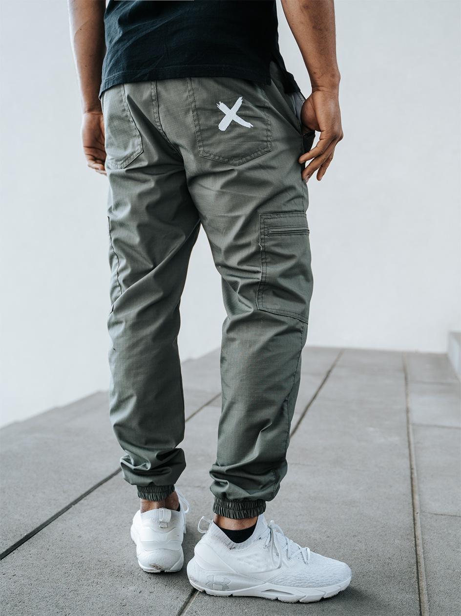 Spodnie Materiałowe Jogger Bojówki Point X Pocket Ripstop Oliwkowe