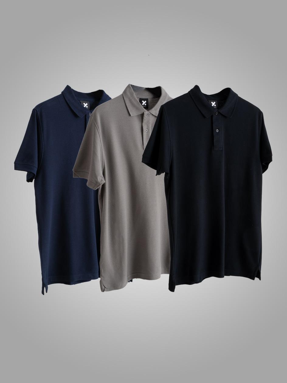 Zestaw 3 Koszulek Polo Point X Base Czarna / Szara / Granatowa