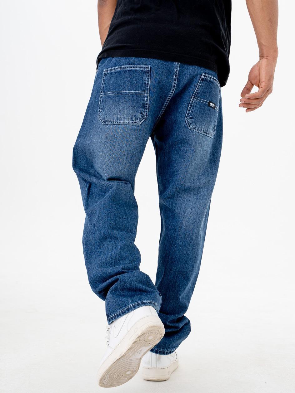 Spodnie Jeansowe Ze Ściągaczem Straight Mass Block Ciemne Niebieskie