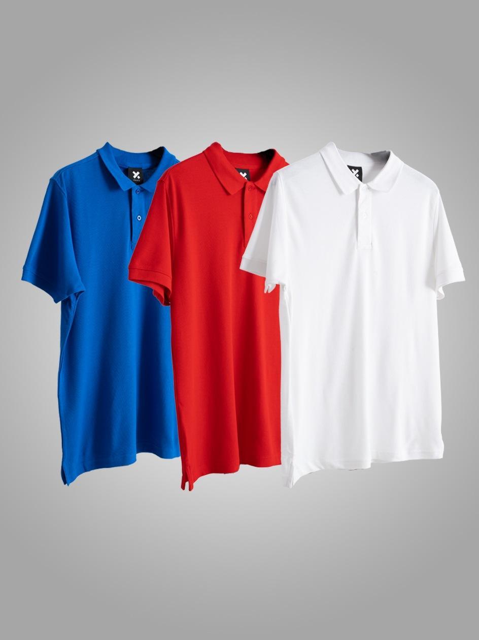 Zestaw 3 Koszulek Polo Point X Base Niebieska / Czerwona / Biała