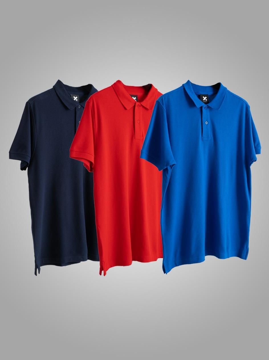 Zestaw 3 Koszulek Polo Point X Base Granatowa / Czerwona / Niebieska