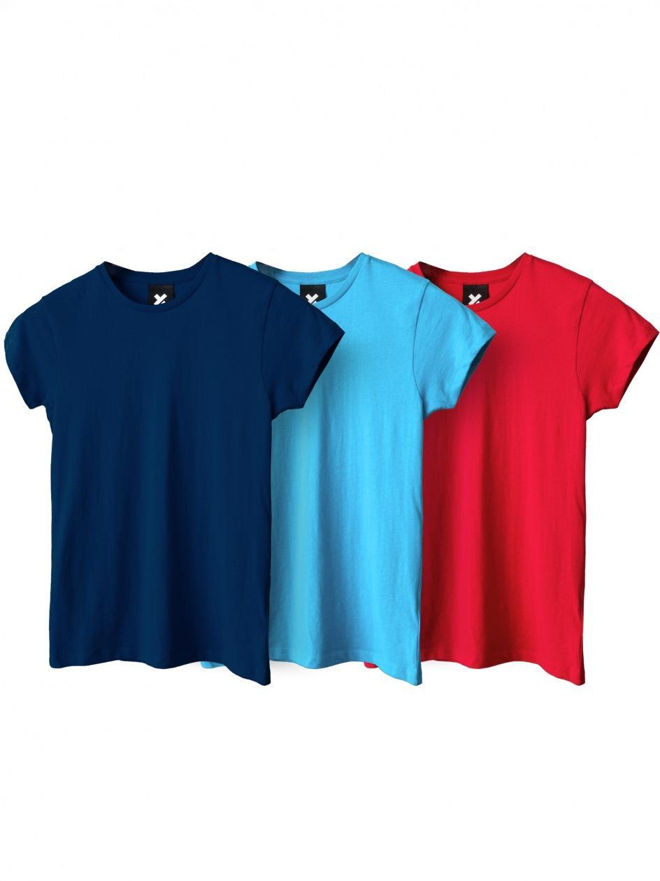 Zestaw 3 Damskich T-Shirtów Point X Base Granatowy / Czerwony / Turkusowy