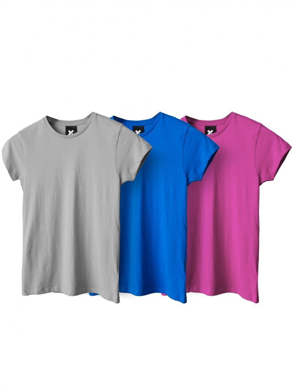 Zestaw 3 Damskich T-Shirtów Point X Base Różowy / Szary / Niebieski