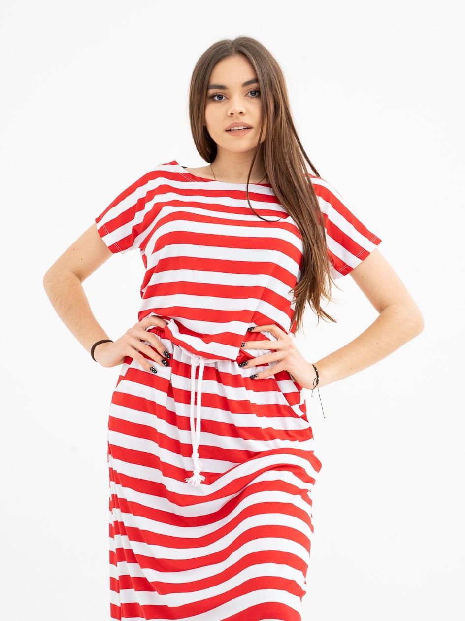 Sukienka Maxi Point X Line Czerwona / Biała