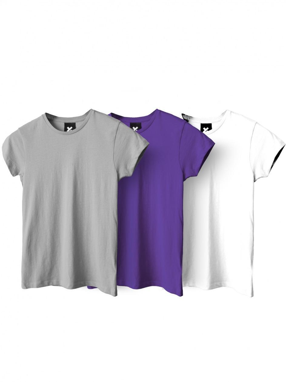Zestaw 3 Damskich T-Shirtów Point X Base Biały / Fioletowy / Szary