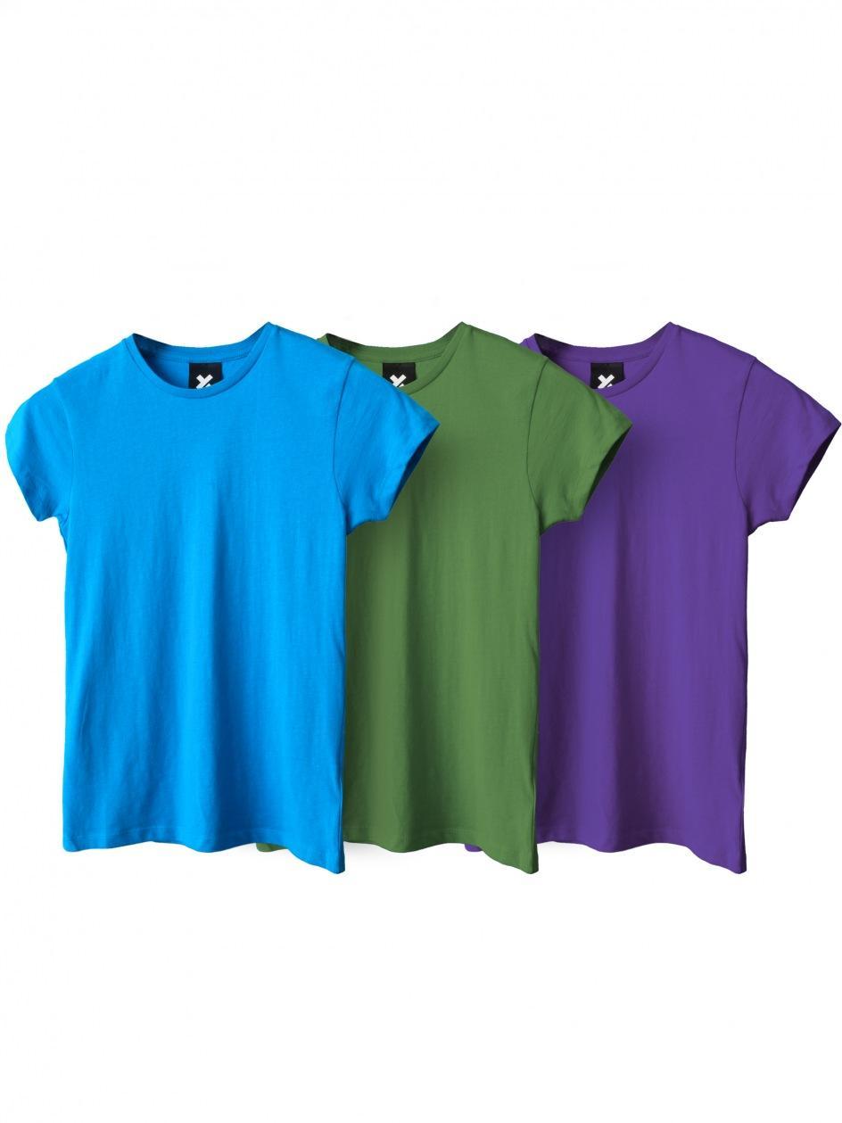 Zestaw 3 Damskich T-Shirtów Point X Base Zielony / Fioletowy / Niebieski