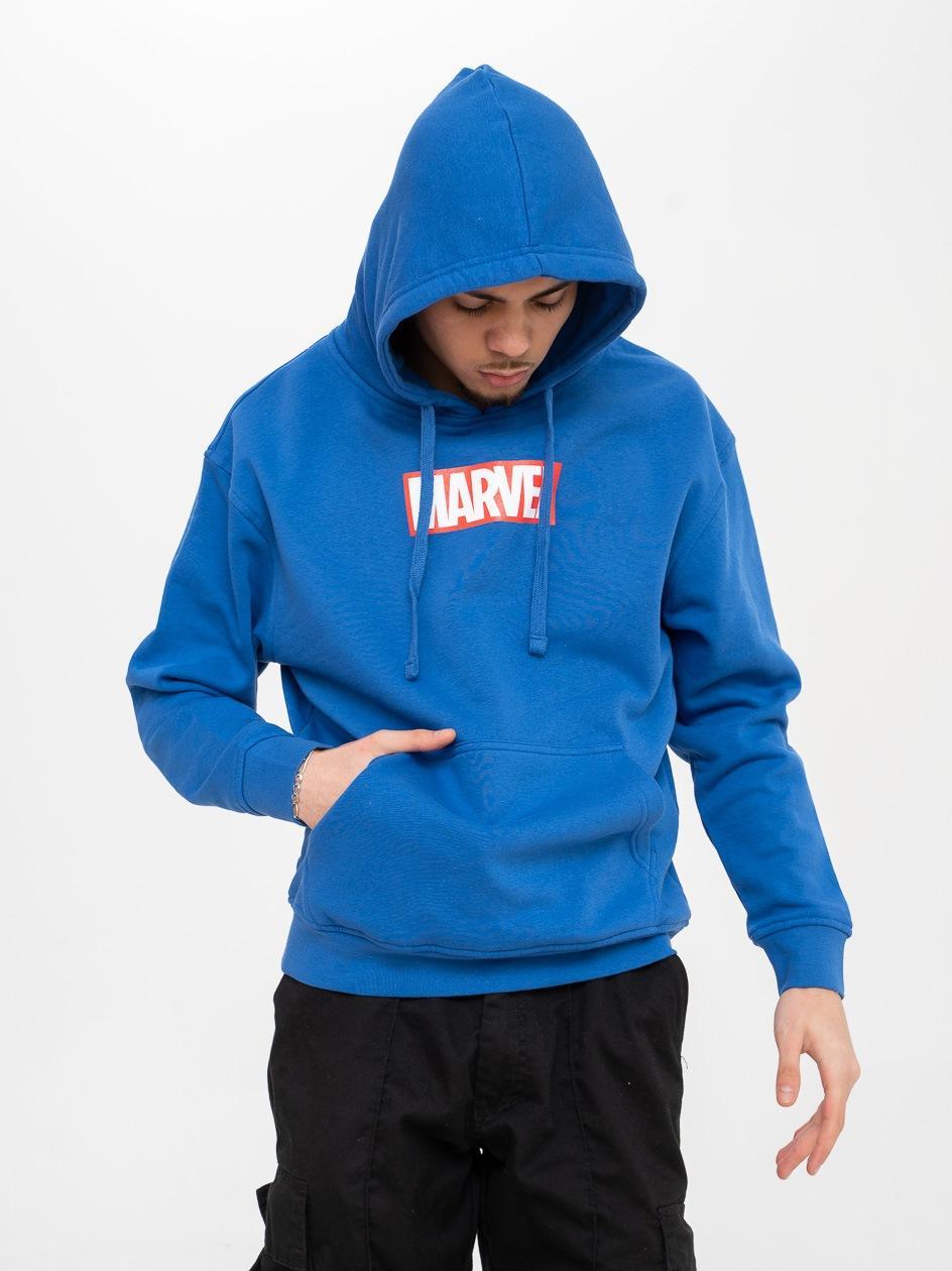Bluza Z Kapturem Marvel Comics Front Logo Niebieska