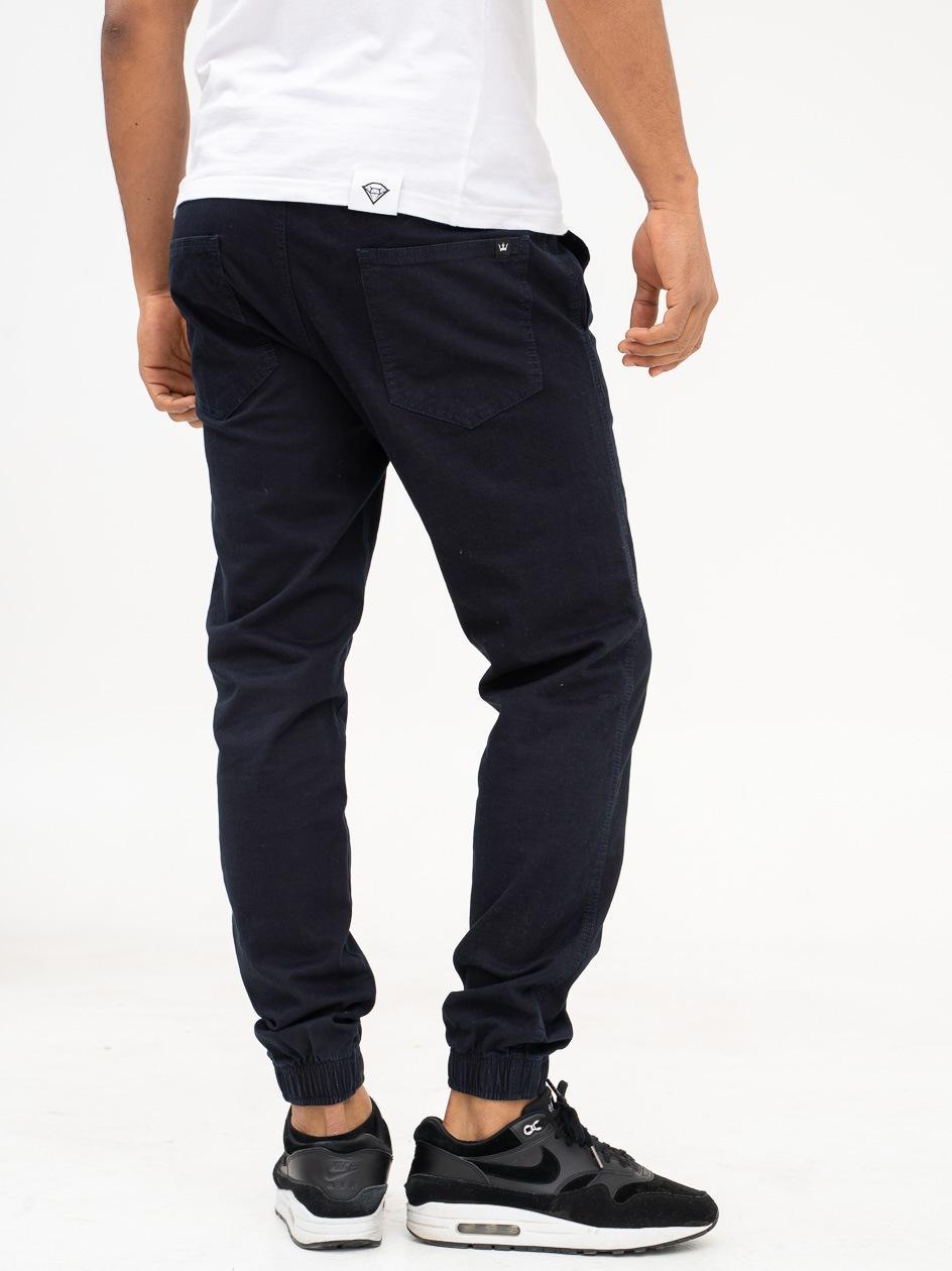Spodnie Materiałowe Jogger Ze Ściągaczem Jigga Front Name Granatowe