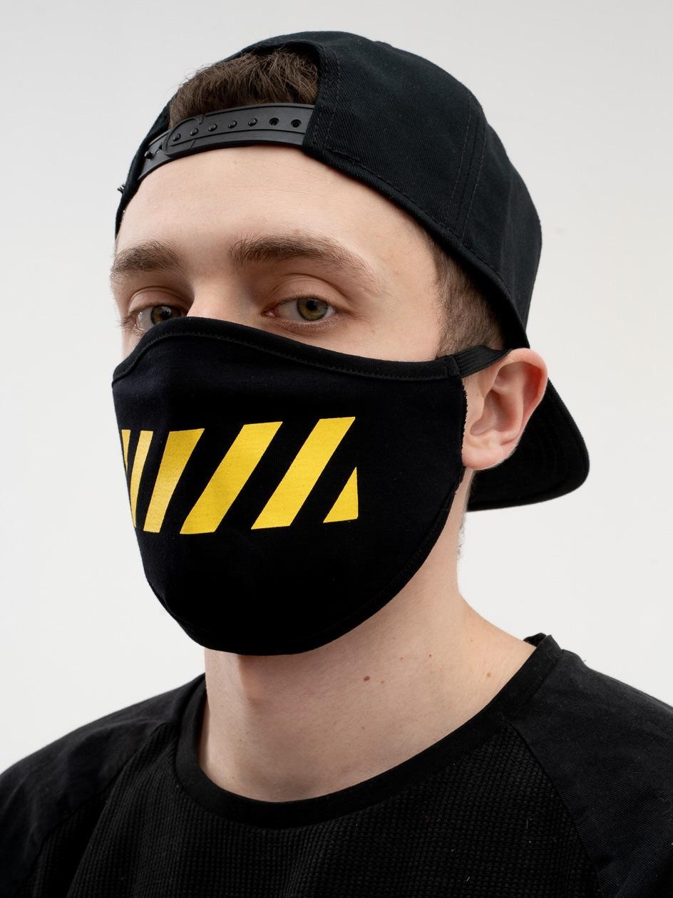 Maska Streetwearowa MyStars Line Czarna / Żółta
