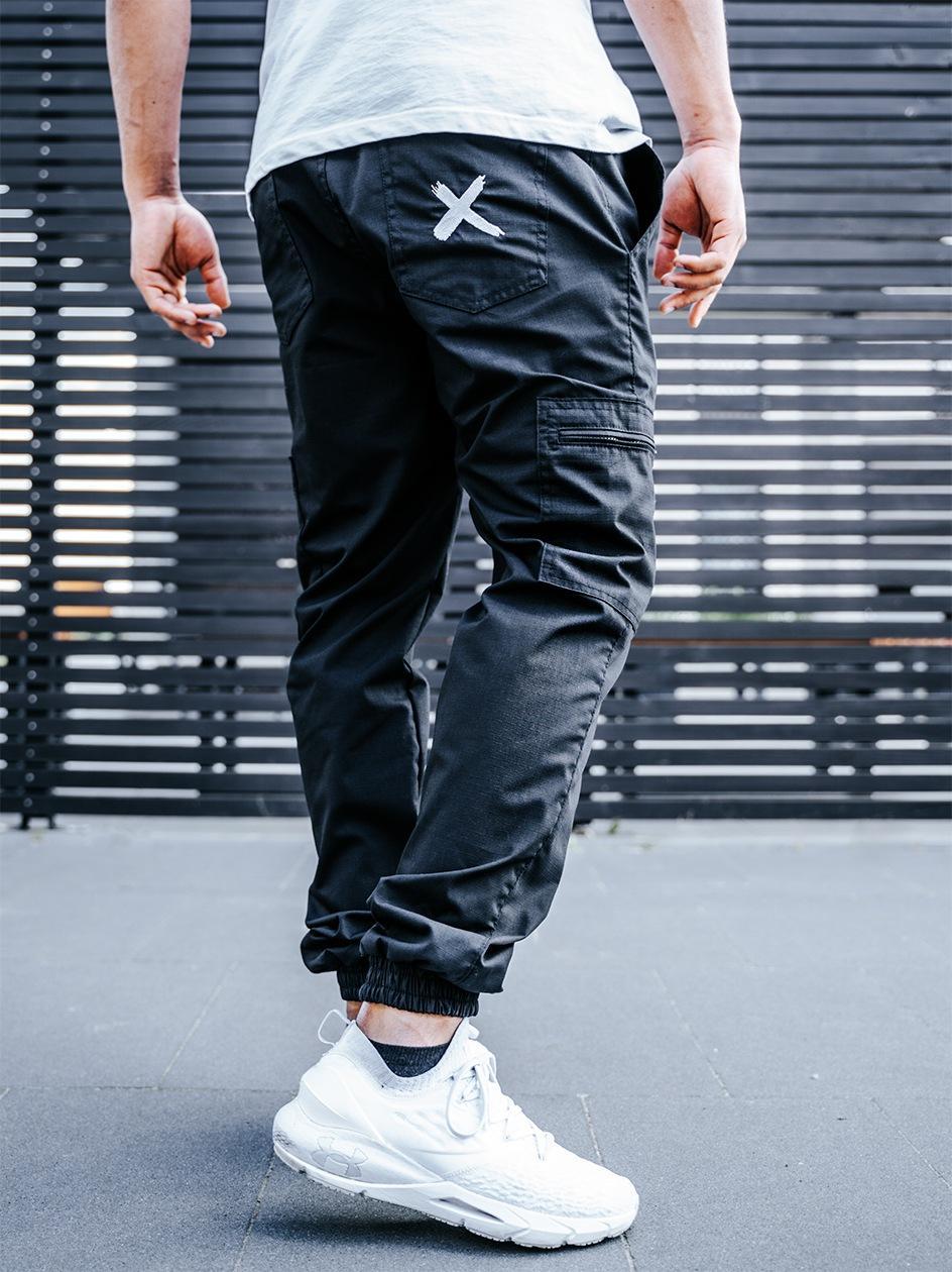 Spodnie Materiałowe Jogger Bojówki Point X Pocket Ripstop Czarne
