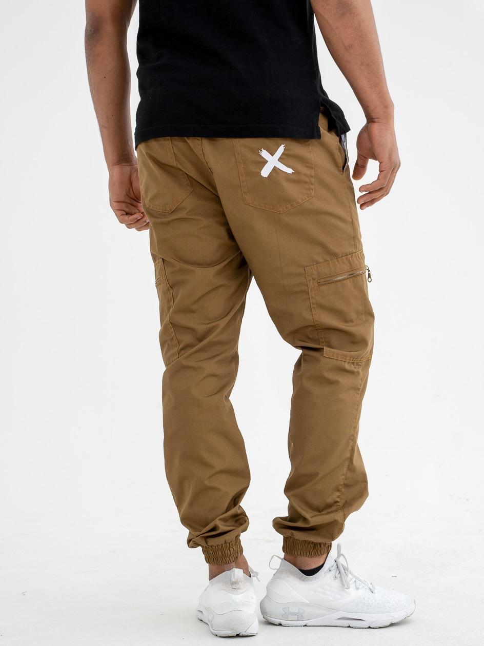 Spodnie Materiałowe Jogger Bojówki Point X Pocket Ripstop Beżowe