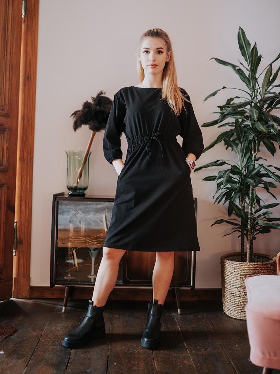 Sukienka Midi Z Długim Rękawem Point X Tied Czarna